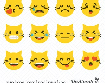Emoticons SVG Files, Cat Emoji Cutting Files, Silhouette Files, Cricut Files, Vinyl Decal, Layered Vector, dxf eps png jpg pdf, D/032
