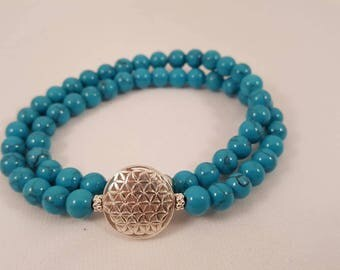 """Beautiful gemstone Bracelet """"turquoise"""" and the flower of life made of 925 sterling silver"""