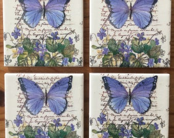 Beautiful Hand Decorated Decoupage Vintage Butterfly Coasters