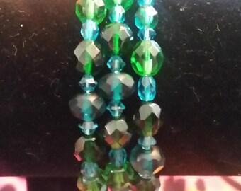 Blue green crystal memory wire wrap bracelet