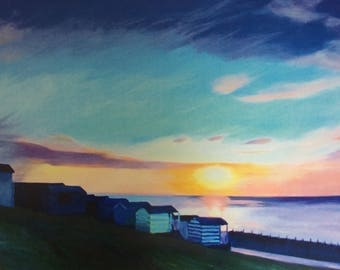 "Giclee Print of Original Artwork- ""Whitstable Beach Huts"""