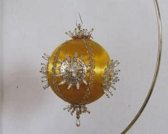 Hand Embelished Vintage gold round Christmas Ball Tree ornament