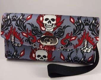 Ladies Clutch Wallet, NCW, Necessary Clutch Wallet, Gothic, Skulls & Daggers, Red, Grey, Black