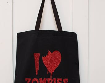 "100% Cotton tote bag - Black/Red ""I love Zombies"""