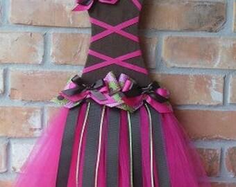 Chocolate & Hot Pink Tutu Hair Bow Holder Wall Decor
