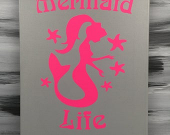 "Mermaid Picture - Mermaid Bathroom - Mermaid Sign - Mermaid Decor - 14"" X 11"" Canvas Picture with Mermaid - Gray w/Pink Mermaid"