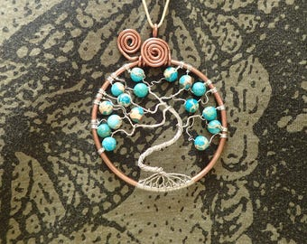Tree of tranquility. Copper tree. Tree of life. Tree pendant. Festival. Gemstone. Turquoise.