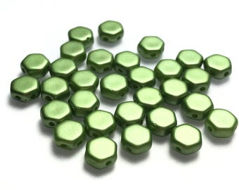 30Pc 6mm Honeycomb Beads 2 holes Pastel olivine