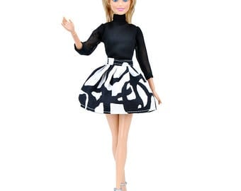 Barbie clothes black and white dress