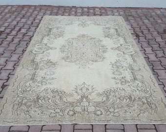 5'7x9'2 ft Turkish Handmade Rug, Hallway Rug,Area Rug,Vintage Rug, Beige Color,Anatolian Rug,Antique Rug