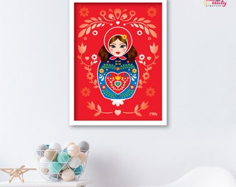 Deco kid matryoshka nesting doll Anatevka red poster