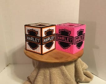 Harley Tissue Box cover  Pick white or pink