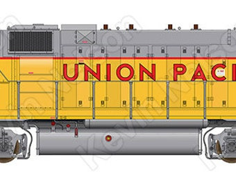 Digital Art Print - EMD GP38-2 Locomotive - Union Pacific 807