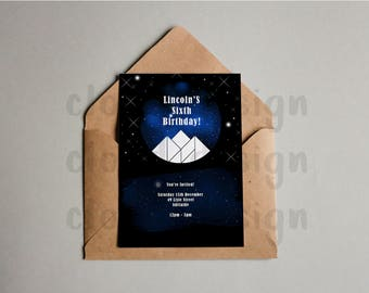 Galaxy Mountain Birthday Invite Digital Personalised Invitations You Print