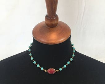 """Ruby Jade 14.5"""" Turquoise Necklace"""