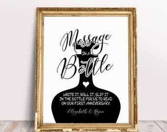Message In A Bottle, Write It Roll It Slip It In The Bottle, Bottle Guest Book Sign, Wedding Guestbook Sign, Message In A Bottle Sign