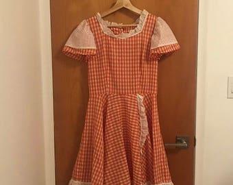 Vintage Red Gingham Dress