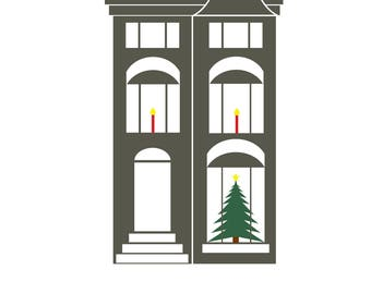 Alexandria Virginia Townhouse Holiday Card A2