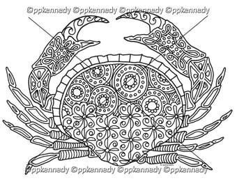 Crab Zentangle Coloring Page