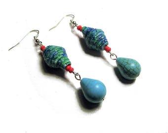 Boucles d'oreille ethniques, pendants d'oreille, turquoise, rouge,