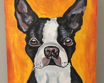 French Bulldog On Orange (Original)