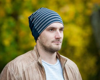 Men's slouchy beanie hat Unisex slouchy jersey beanie hat Men scull hat Striped/navy blue beanie hat Beanie for men Cotton lining Men beanie