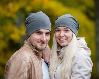 Dark gray unisex beanie hats Set of 2 hats Matching couple beanie hats Adult scull hat Men's slouchy beanie hat Women slouchy jersey beanie