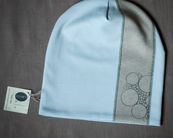 Light blue women's beanie hat Slouchy jersey beanie with cotton lining Autumn/winter hat for women/teen Scull hat for outdoor activity