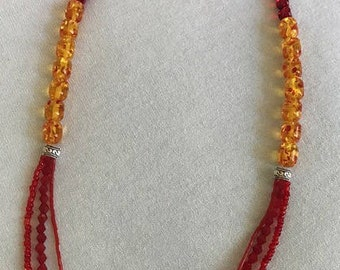 Red & Yellow Multi-Strand Beaded Necklace