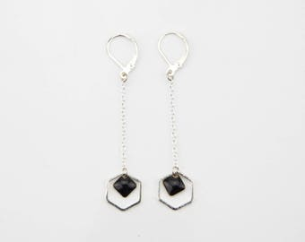 Silver plated dangle hexagonal black #1489