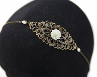Vintage white wedding flower #1418 headband headband