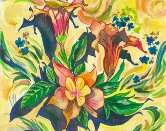 Wild Bunch Flowers | Acrylic, Ink, Pencil, Original, Floral, Outdoor, Nature, Colorful, Drawing, Wall Art, Decor