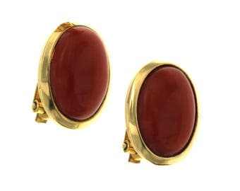 18 kt yellow gold Vintage earrings. Natural red coral 750 Years 80, vintage jewelry, antique earrings handmade in Italy