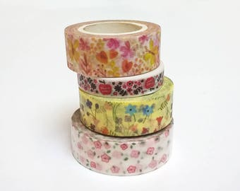 Washi tape flowers * 7-10 m * pattern choice * 0.8 or 1.5 cm