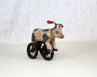 Vintage Wooden Toy Cow Tricycle