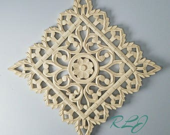 Rustic Shabby Chic Whitewashed Carved Wood Lacework Scrolling Wall Art  Panel Home Decor