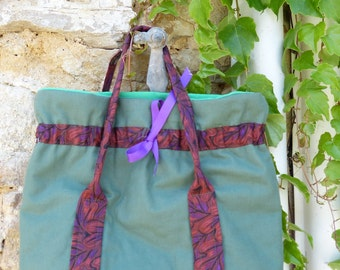 French designer vintage recycled fabric retro bag