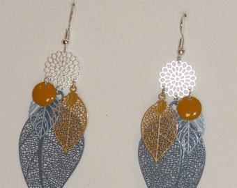 Leaf earrings, prints, mustard, grey, Silver earrings Pimprenellecreations