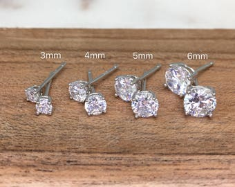 Classic Basket Prong-Set Diamond Dimulant CZ Sterling Silver Stud Earrings•Hyallergenic•Valentine Gift for her•Women•
