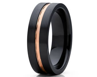 Rose Gold Wedding Band Black Zirconium Wedding Ring Beautiful Ring Matte Brush Flat Ring