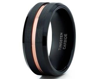 Men's Tungsten Wedding Band Rose Gold Tungsten Ring Black Wedding Band Men & Women Tungsten Carbide Ring Brush