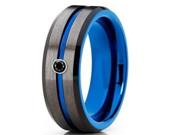 Gunmetal Tungsten Wedding Band Blue Tungsten Ring Men & Women Tungsten Wedding Band Black Diamond Tungsten Ring