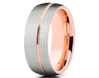 Rose Gold Tungsten Wedding Band Silver Brush Tungsten Wedding Ring Men & Women Tungsten Carbide Ring Anniversary  Band