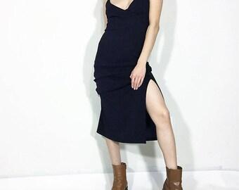 Vintage Navy Blue Midi Slip Dress