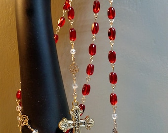 Pomegranate Rosary, handmade