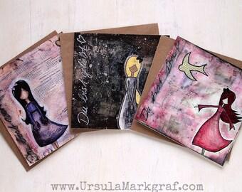 """3 Faltkarten mit passendem Umschlag """"Du bist ..."""", 3 Motive, frei, wertvoll, geliebt, Grußkarte für Freundin, Mutter, Kundin, Affirmationen"""