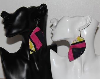 Earrings, Feather style earrings, leaf earrings, African fabric earrings, ankara earrings