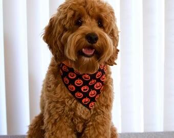 orange & black pumpkin Halloween dog/cat bandana costume, reversible, snap-on,fall bandana for puppy/pet, dog/cat lover gift for halloween