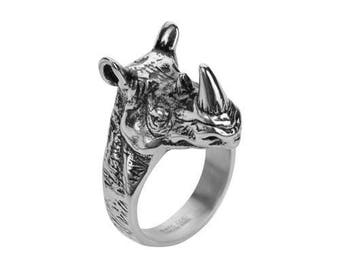 Gents Stainless Steel Large Rhino Ring Motorcycle Jewelry