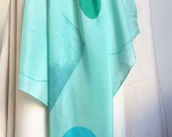 Abstract geo silk scarf square hand printed one off art scarf aqua, green, turquoise
